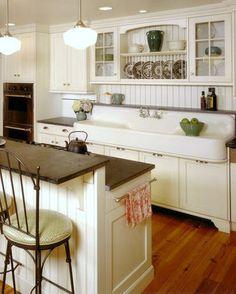 Cottage Farmhouse Kitchens {inspiring in white} - Fox Hollow Cottage, THE SINK!!! Vintage Kitchen Sink, Kitchen Redo, Kitchen Styling, New Kitchen, Kitchen Ideas, Vintage Sink, Kitchen Designs, Kitchen Bars, Kitchen Sinks