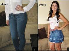 Transforme calça jeans em saia com babado by Customização & Cia