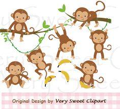 Jungle monkeys clipart digital illustration door VerySweetClipart