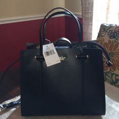 Kate Spade small Elodie Arbour Hill - black NEW! Smooth Leather Exterior In Black, KSNY Gold Plated At Top Front Center Hidden Magnetic Snap Closure, Thin Dual Leather Handles Detachable Adjustable Cross-body Strap, Interior Lined With Black Leather Interior Zip Pocket Separates Two Other Compartments Dimensions : 10.5 (L) 9.25 (H) 4 (D) kate spade Bags Totes
