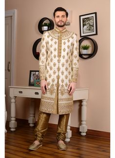 Indian Wedding Sherwani for men online shopping in USA at best price. Panash India offers mens sherwani dress online for groom to wear on wedding occasions. Sherwani For Men Wedding, Wedding Dresses Men Indian, Mens Sherwani, Sherwani Groom, Wedding Dress Men, Wedding Men, Wedding Groom, Indian Groom Wear, Indian Ethnic Wear