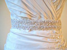 Bridal beaded pearl sash.  Beaded sequin wedding belt. by IngenueB