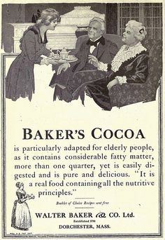 Baker's Cocoa Advertisement in Overland Monthly, January The manufacture of chocolate had been introduced in the United States in 1765 by John Hannon and Dr. James Baker in Dorchester. Walter Baker & Company was located in Dorchester, Massachusetts. Bakers Chocolate, Chocolate Brands, Hot Chocolate, Baker And Co, Cocoa Recipes, Old Advertisements, Retro Advertising, Walter Baker, How To Make Chocolate