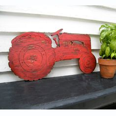 40d99ad25 Farm Tractor Sign Boys Room Wall Decor Garden Country Farm sign wall art  Barnwood Red by