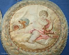 Pair of Antique French Tapestries Pillow Covers Cherub & Roses 1820. #FrenchGardenHousestyle