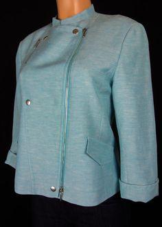AKRIS PUNTO Jacket Size 8 M Heathered Blue Weave Linen Silk Work Blazer #AkrisPunto #BasicJacket