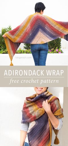 A deceptively simple yet beautiful Adirondack Wrap, made using Lion Brand Mandala Yarn. Free pattern from 1dogwoof.com