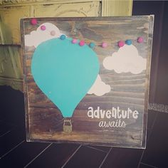 "Hand Painted Wood Sign Size: Stained Background - You Choose Balloon Color and Felt Ball Garland Color (please specify in ""notes section"") Sign Comes With Hook To Hang (You Attach) All Orders Have A 2 Week Production Time Copyright JaxnBlvd 2016 Baby Shower Balloons, Birthday Balloons, Air Ballon, Hot Air Balloons, Hot Air Balloon Centerpieces, Masquerade Centerpieces, Wedding Centerpieces, Classroom Themes, Hot Air Balloon Classroom Theme"