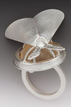 "Marilyn da Silva  Moth Ring  Sterling silver, 24K gold, acrylic  1.25"" x 1.5"" x 1.5""  Photo: George Post Mobilia Gallery"