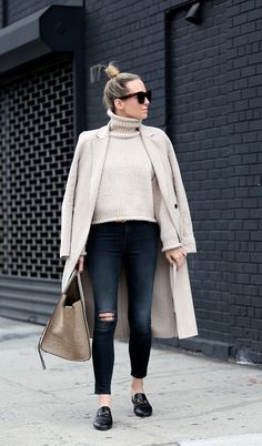 Casual Layers by Brooklyn Blonde - Top Coat: Zara | Sweater: Moon River ℅ | Denim: Rag & Bone | Loafer Slides: Gucci | Sunglasses: Celine | Bag: Celine Phantom | Belt: Gucci | Lipgloss Bobbi Brown December 13, 2016