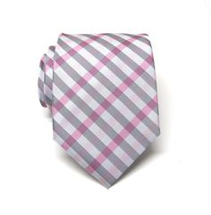 Mens Tie. Necktie. Pink and Gray Stripes Men's Tie by TieObsessed