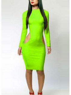 Woman Cutout Waist Neon Green Hot Sale Dress