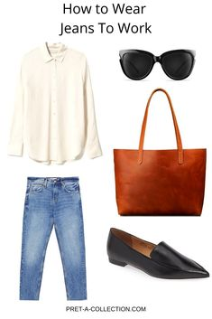 How To Style: Jeans To Work - Pret a Collection Minimal Fashion, Work Fashion, Emo Fashion, Mode Outfits, Casual Outfits, Fashion Outfits, Girly Outfits, Blazer And T Shirt, Looks Jeans