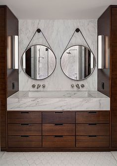Bathroom Mirror Ideas - Browse a large selection of bathroom vanity mirror designs, including frameless, beveled and lighted bathroom wall mirrors in all shapes . Bathroom Renos, Bathroom Interior, Modern Bathroom, Master Bathroom, Bathroom Mirrors, Wall Mirrors, Minimalist Bathroom, Double Sink Small Bathroom, Jeep Mirrors