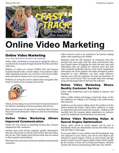 Online Video Marketing  http://blog.robfore.com/online-video-marketing/    Online Video Marketing    by Rob Fore    Online video marketing is increasing in popularity today as revealed by the sensation brought about by YouTube and other video sites.