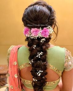 Gorgeous romantic bridal hairstyle by MUA Vejetha Anand for Swank. Braids with fresh flowers. Sangeet look. Bridal Hairstyle For Reception, Bridal Hairstyle Indian Wedding, Bridal Hair Buns, Bridal Hairdo, Hairdo Wedding, Braided Hairstyles For Wedding, Wedding Stage, Lehenga Hairstyles, Indian Hairstyles