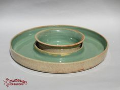 Cracker and Dip Plate  Tan and Green by MudbugCreations on Etsy, $30.00