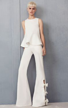 White Flutter Shell Top and Flare Wide Leg Bow Pant by Alexis | Moda Operandi