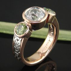Rose gold, dark palladium, green sapphires, a big diamond, and a sea turtle do go together after all!