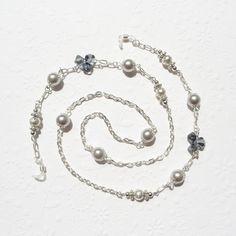 Black Glass Bead Chips Link Eyeglass Chain Holder