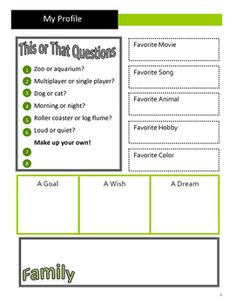 All About Me - Secondary and Upper Elementary!