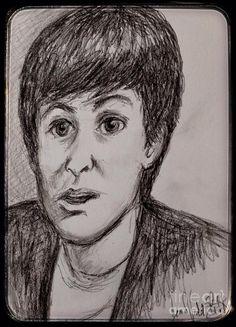 Charcoal Portrait Of Paul Mccartney Drawing