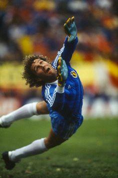 1986: Jean Marie Pfaff, de heldhaftige doelman van Belgie  1986: Jean Marie Pfaff, the heroic Belgian goaly