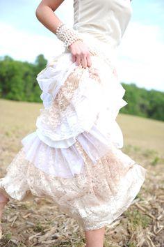 Wedding dress  Strapless Tattered Boho Rustic Ruffled Romance- Sample Only One. $199.00, via Etsy.