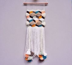 This is so similar to what I have been wanting to make in my head! ☺️ 1 medium size handmade weaving wall hanging made from high quality yarns. Dimensions are approximately wide by long Item is Weaving Textiles, Weaving Art, Tapestry Weaving, Loom Weaving, Hand Weaving, Weaving Patterns, Weaving Wall Hanging, Wall Hangings, Arts And Crafts