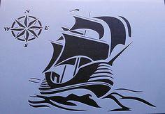 Stencil Schablone Textilgestaltung Airbrush Schiff A 4 S 010