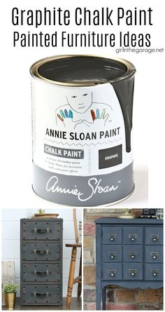 Learn all about Graphite Chalk Paint by Annie Sloan - including how to best use it and seal it. Also see stunning Graphite painted furniture ideas. By Girl in the Garage Annie Sloan Chalk Paint Projects, Chalk Paint Furniture, Diy Furniture Projects, Refinished Furniture, Diy Projects, Graphite Chalk Paint, Black Chalk Paint, Decoupage Drawers, Painted Trunk
