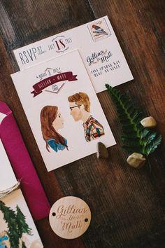 La papeterie de mariage illustrée de Gillian&Mat par le studio Wide Eyes Paper Company à découvrir sur le blog www.papiers-urbains.fr ©Wide Eyes Paper Company