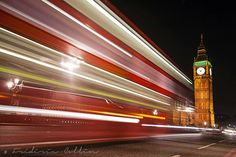 Big Ben Tower and bus light trails - London