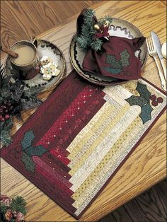 quilted place mats, holiday quilted placemats, holli place, quilt placemat pattern, christmas placemats, christma placemat, log cabin, holiday placemat, napkin
