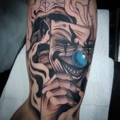 Nel Clown Skull - Vida Loca Tattoo Bolton Tattoo design, tattoo ideas, sleeve tattoo tattoo, arm tattoo, clown tattoo, skull tattoo
