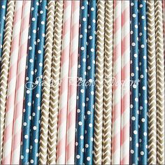 #Navy Blue #Gold And Pink  #PartyStraw Mix by JaclynPetersDesigns