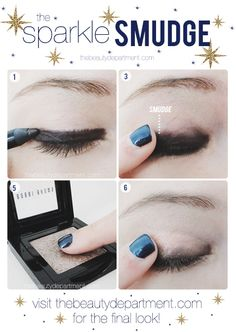 Going out tonight? You can do a smoky eye... a cat eye... or this Sparkle Smudge! Click on the picture to see both the final eye and the final full face shots!