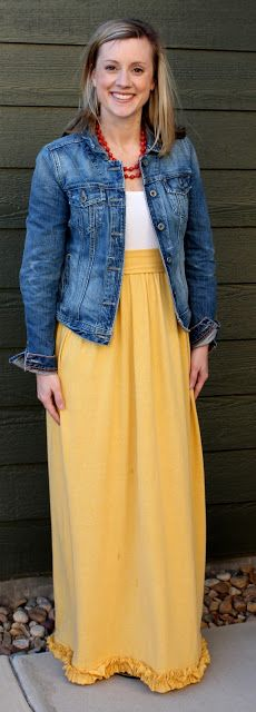 #Tutorial to create this maxi dress #DIY #sewing - Simple.... Basically attach a skirt to a tank top, but read for all the details....