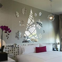 Yanqiao 38pcs Christmas Tree Snowflake Mirror Wall Stickers Removable Acrylic Living Room Home Wall Dcor 197x24 >>> Click on the image for additional details. (Note:Amazon affiliate link)