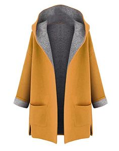 YUNY Women's Contrast Color Wool-Blend Hooded Open Front Pea Coats Yellow Medium