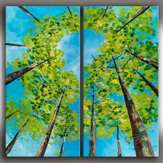 Looking Up Fresh  Forest Art  Contemporary Huge by elseart on Etsy