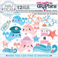 ★New listing! Nautical whale graphics for COMMERCIAL USE - Whale cliparts - Summer clip arts