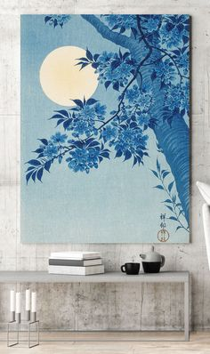 Perfect for updating your bedroom wall space, pair this blue moon aluminium print with white and blue accessories such as white bedding and velvet navy scatter cushions. Paint the surrounding walls in white and choose a plaster effect for your main feature wall. This will add some texture to the space and will look great paired against this beautiful oriental inspired metal print. Shop our metal prints now at Wallsauce.com! *Only available in the UK Oriental Wallpaper, Scatter Cushions, White Bedding, Wall Spaces, Blue Moon, Plaster, Bedroom Wall, Original Image, Cherry Blossom