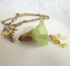 Lucite flower necklace green yellow Flower by ArtfulTrinkets1, $40.00