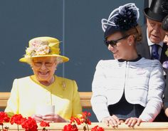 HRH Queen Elizabeth II at Royal Ascot, with grand-daughter Zara Phillips MBE wearing the Zara Phillips Collection by Calleija 'Saddle' Ring and Earrings.  Picture credit: Getty Images