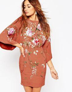 ASOS Embroidered Kimono Sleeve Mini Dress