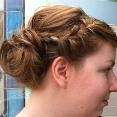 Got my hair done in exchange for singing at my cousins wedding. I told the stylist I wanted a pinterest style braided updo and she knew exactly what I meant