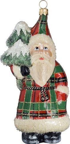 Ino Schaller Scotch Tannenbaum Santa Blown Glass Christmas Ornament by Joy To The World Collectibles