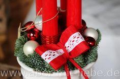 Kerzengesteck zum Advent, alternative zum Adventskranz, Adventsgesteck skandinavisch mit Spitzkerzen und Filzband