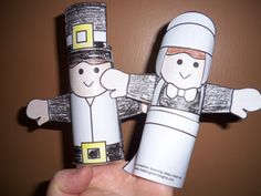 pilgrim & indian toilet paper tube puppets